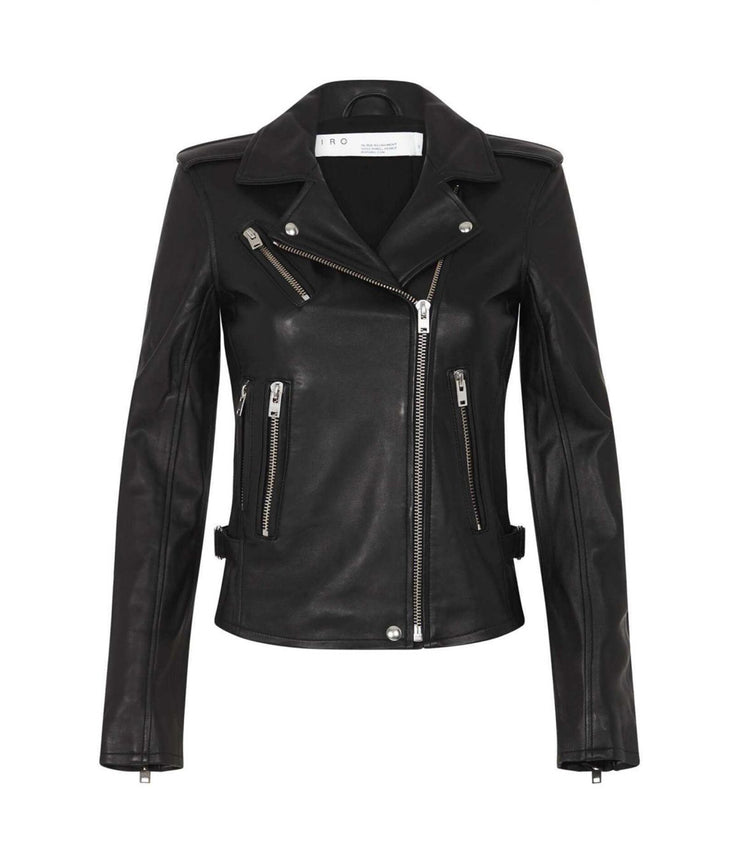 Newhan Biker Leather Jacket in Black