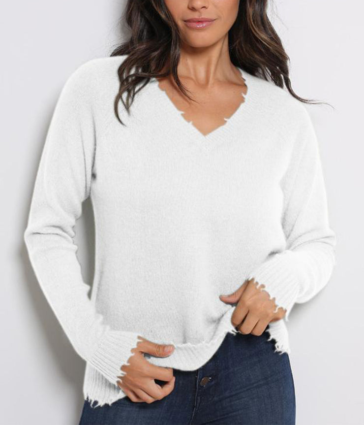 Distressed Long Sleeve V Neck Knit in White