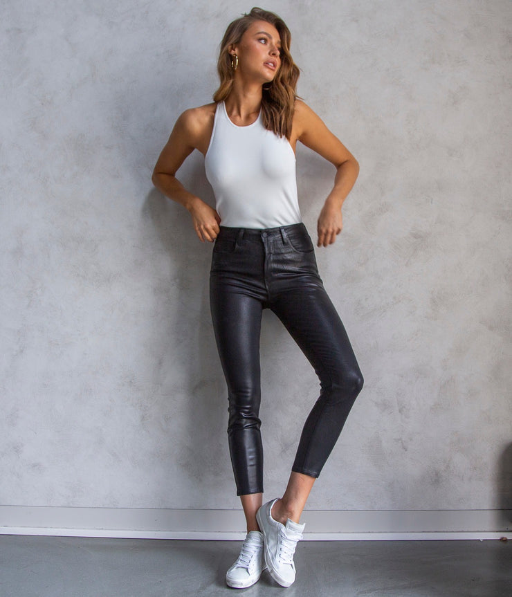 Harlow Ankle Midrise Leather Pants in Black