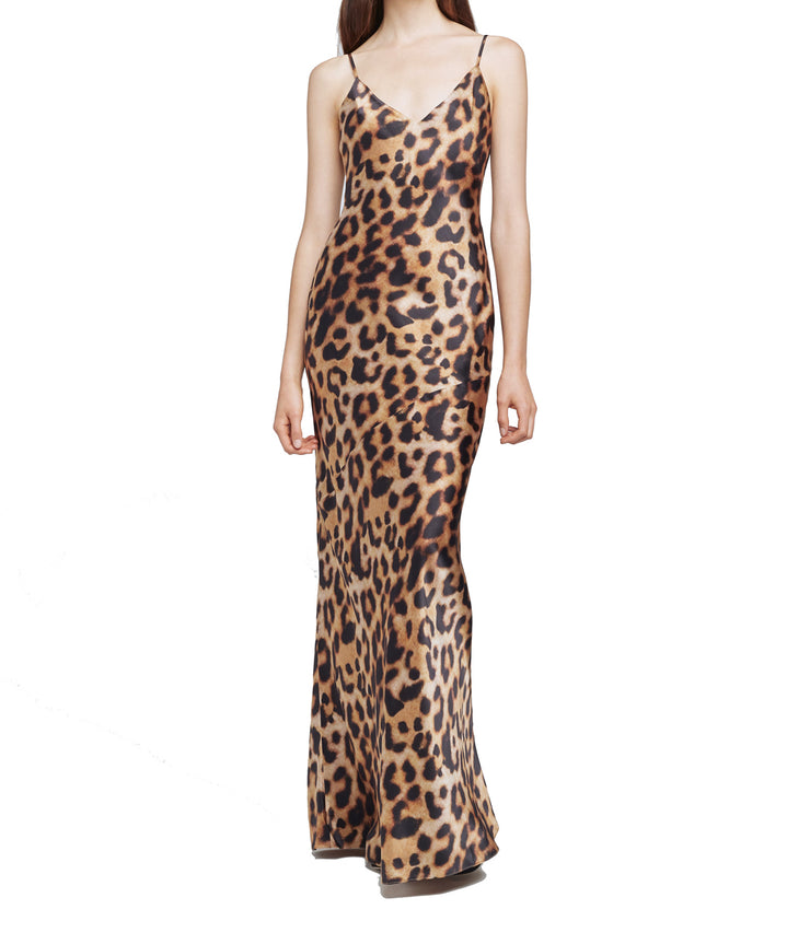 Serita Maxi Dress in Brown Black Leopard