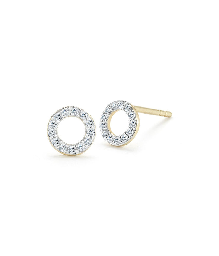 Mini Diamond Circle Stud in Yellow Gold