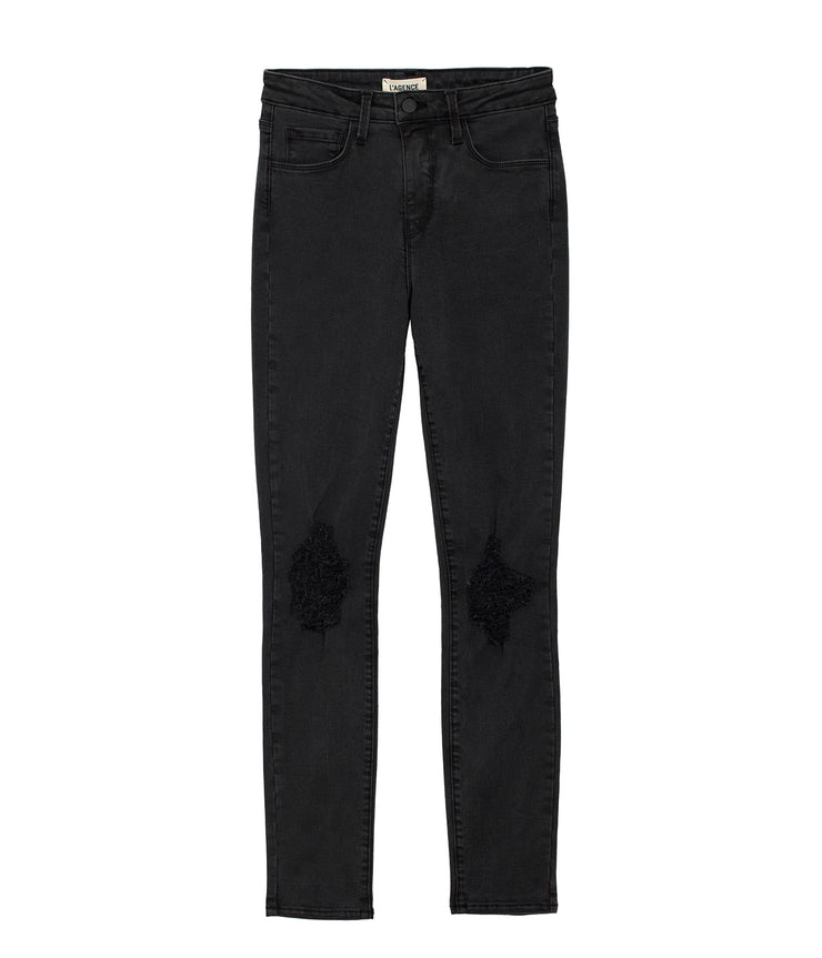 Margot High Rise Skinny Jeans with Holes in Coal Destruct