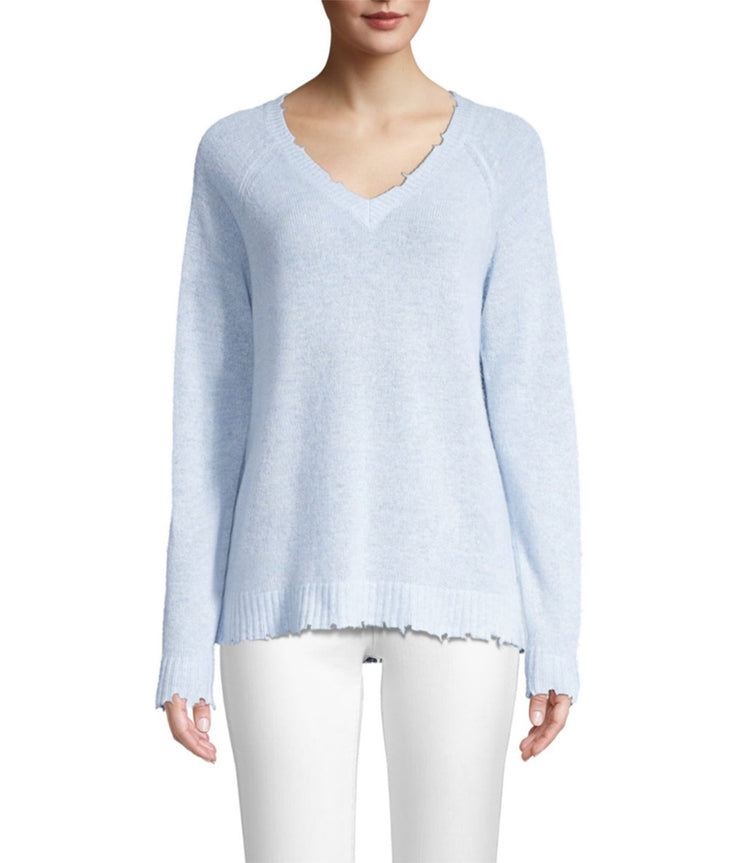Distressed Long Sleeve V Neck Knit in Faded Denim