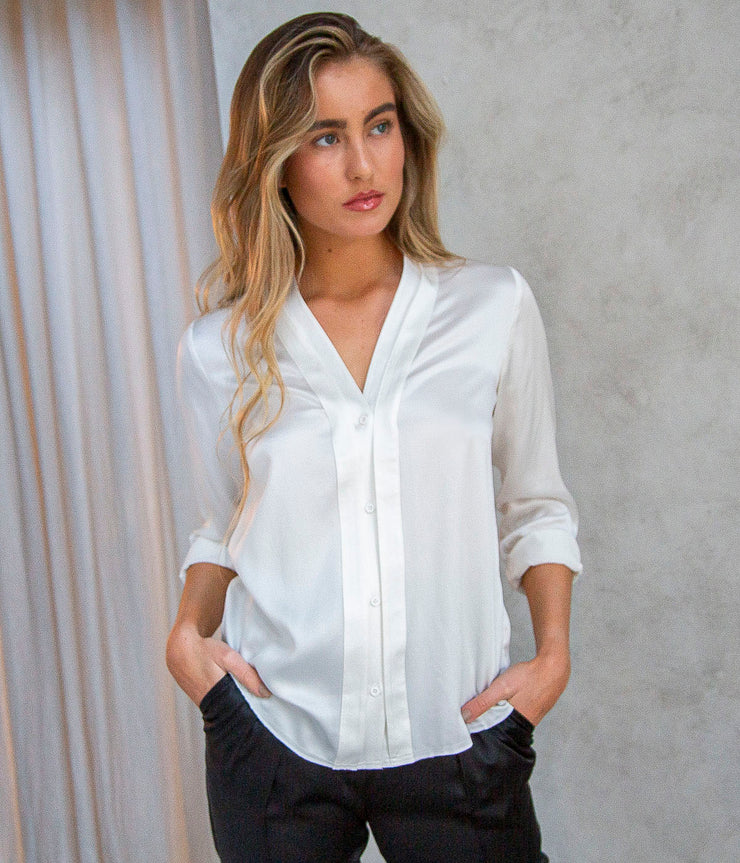 Natalya Cape Sleeve Shirt in White
