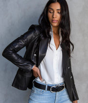 Kenzie Double Breated Leather Blazer in Black
