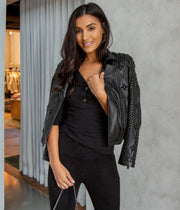 Saturday Studded Biker Jacket in Black