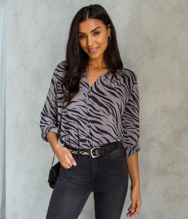Nina Long Sleeve Blouse in Atticus Zebra