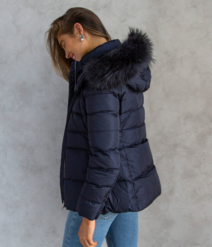 Hooded Down Jacket with Fur Border in Deep Navy