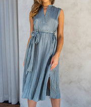 Textured Sleeve Popover Dress in Horizon