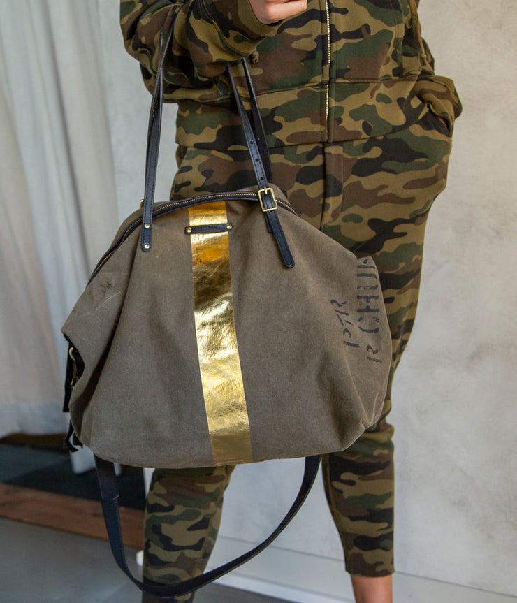 Stripe Crossbody in Army Gold