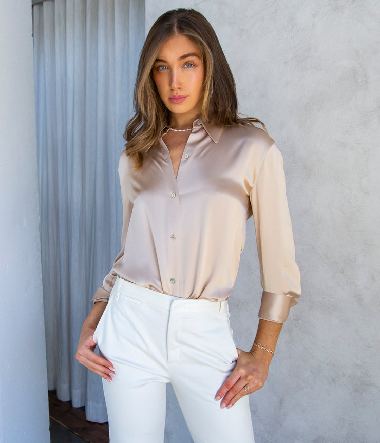 Shaped Collar Blouse in Sand Dollar