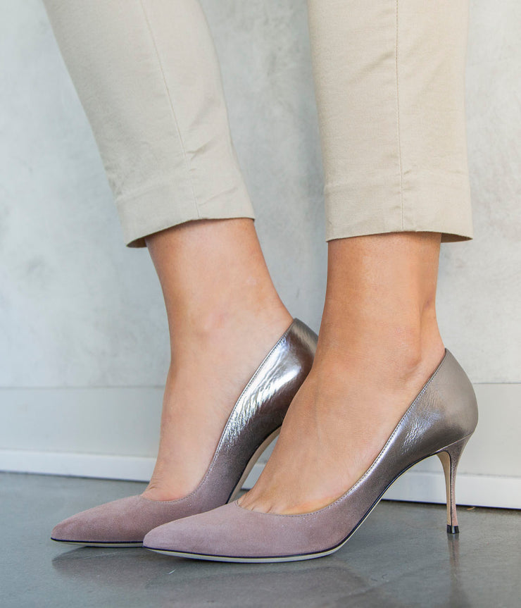 Godiva Heels in Silver and Pink