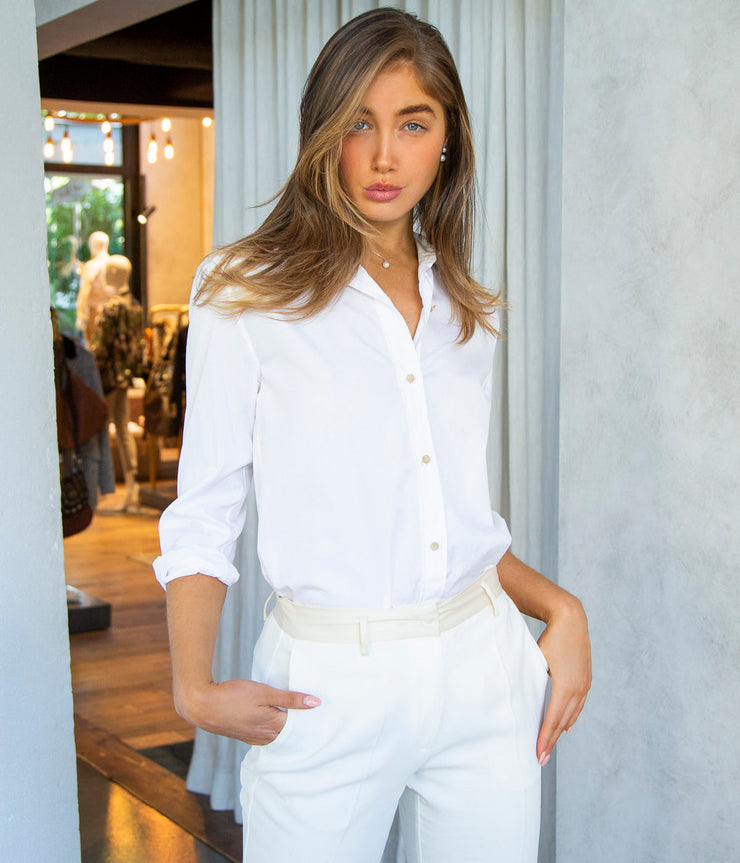 Classic Button Down Top in Optic White