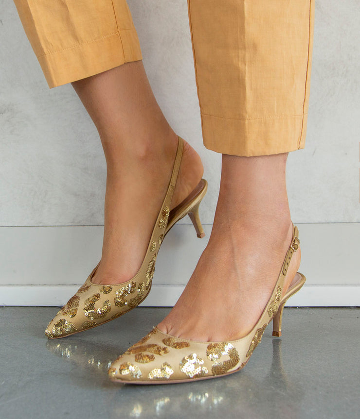 Daze Slingbacks in Gold Mekong