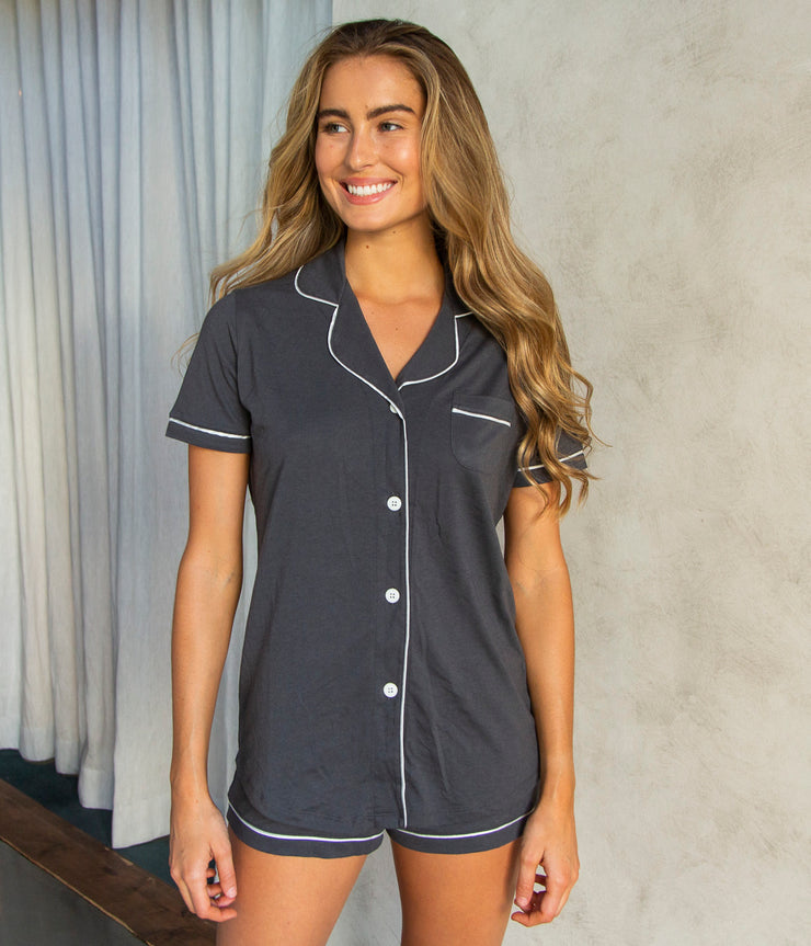 Bella Short Sleeve PJ Set in Anthracite and Ivory