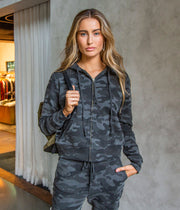 Callie Zip Up Hoodie in Camouflage