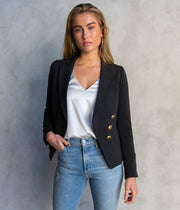 Three Button Wrap Blazer in Black
