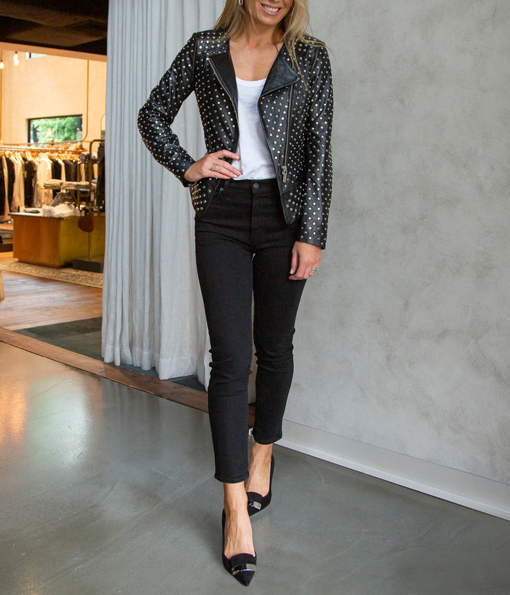 Celine Studded Black Leather Jacket