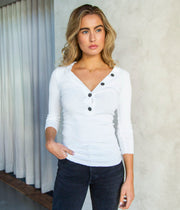 Military Rib Henley Top in White