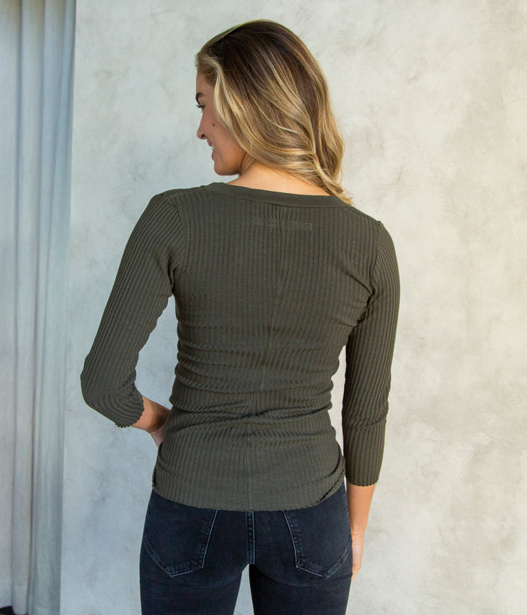 Military Rib Henley Top in Uniform Green