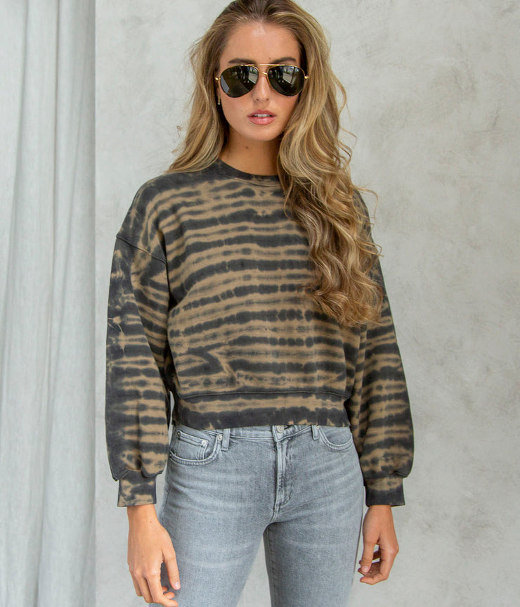 Balloon Sleeve Tie Dye Sweatshirt in Jaggad Stripe