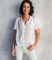 Flutter Blouse in Washed White
