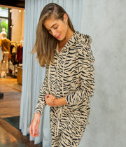 Callie Zip Up Hoodie in Sandstone and Black Zebra