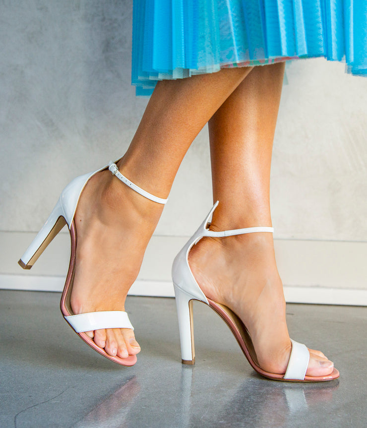 Heels in Patent White