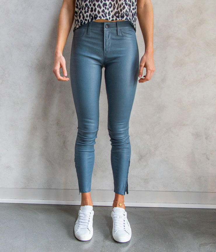 Midrise Skinny Leather Pants in Duck Egg Blue