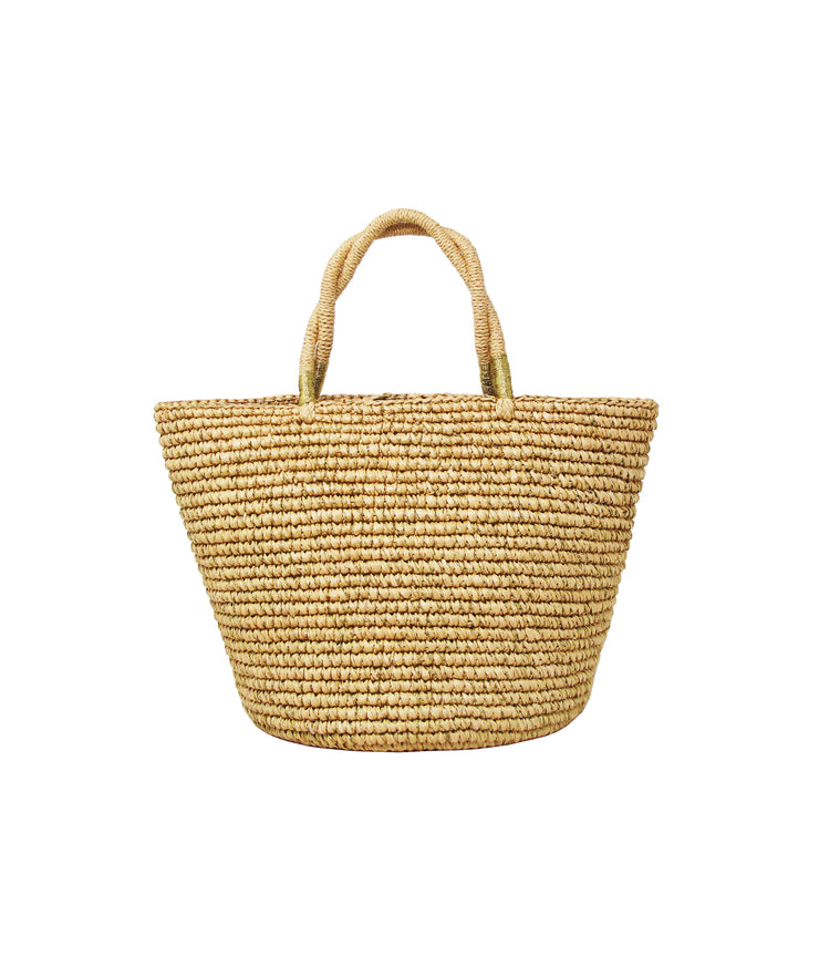 Baby Tote Woven Straw in Natural & Gold