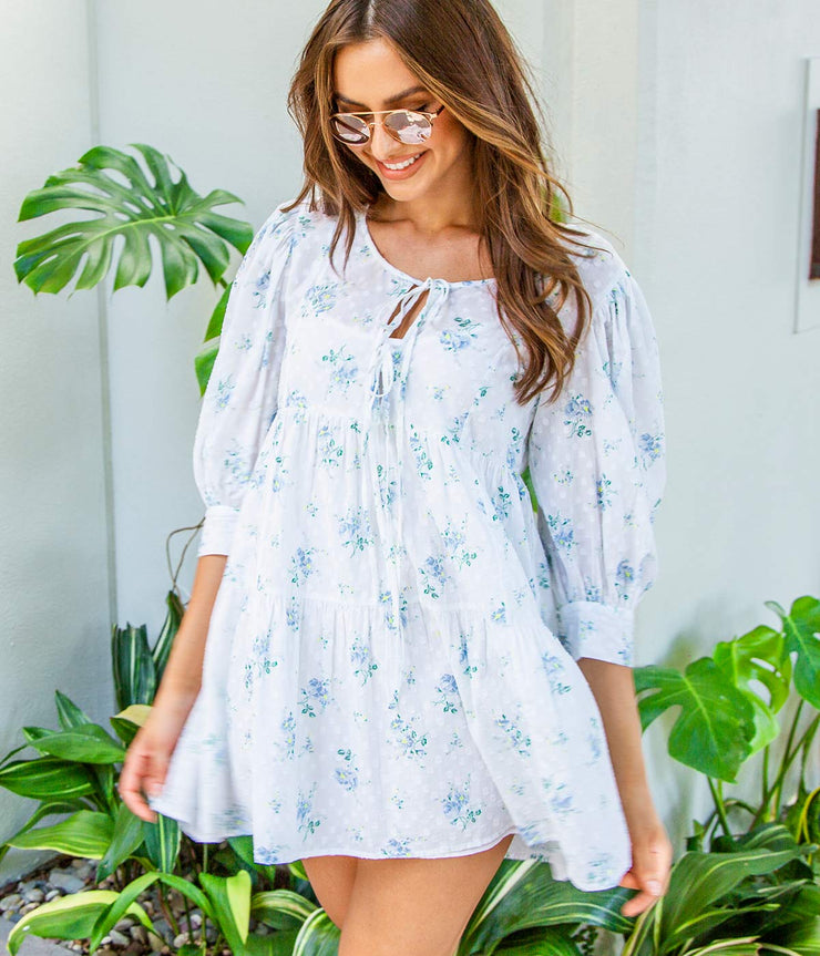 Mini Bex Dress in White Sun