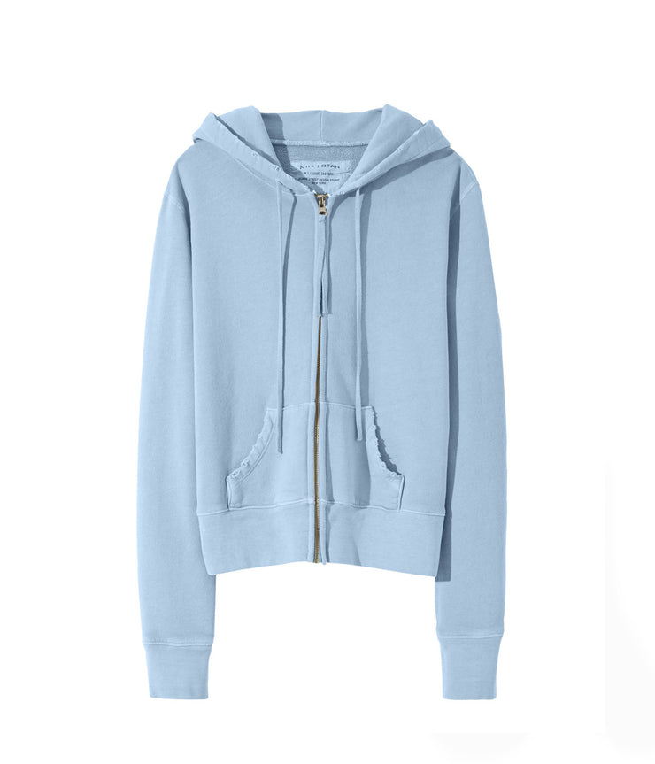 Callie Zip Up Hoodie in Light Blue