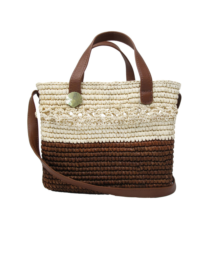 Canasta Handbag in Natural Chocolate Leather