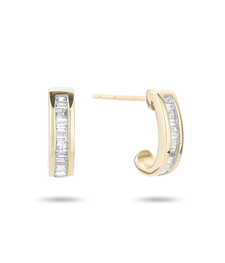 Small Heirloom Baguette J Hoops in 14K Yellow Gold