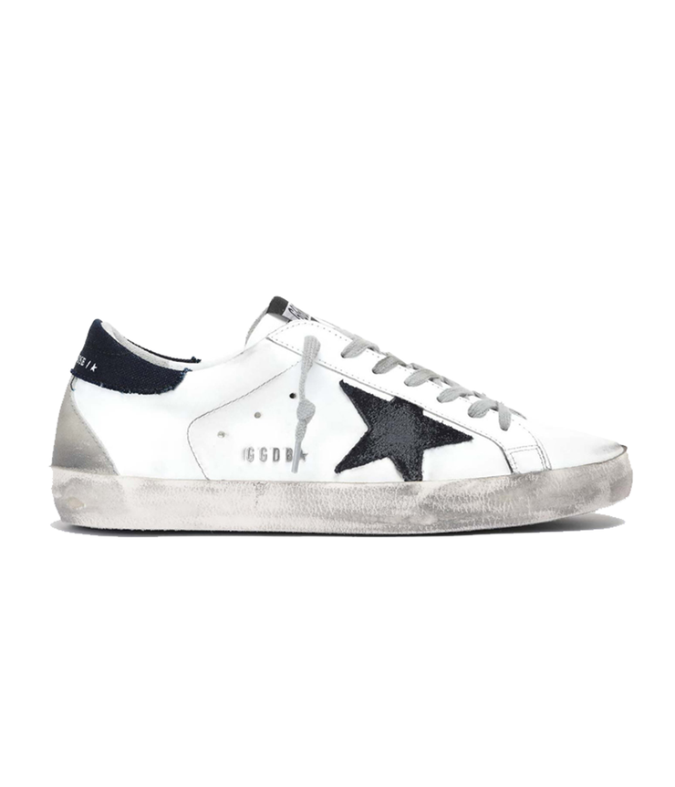 Leather Supper Suede Star in Kuroki Heel in White, Dark Blue & Night Blue