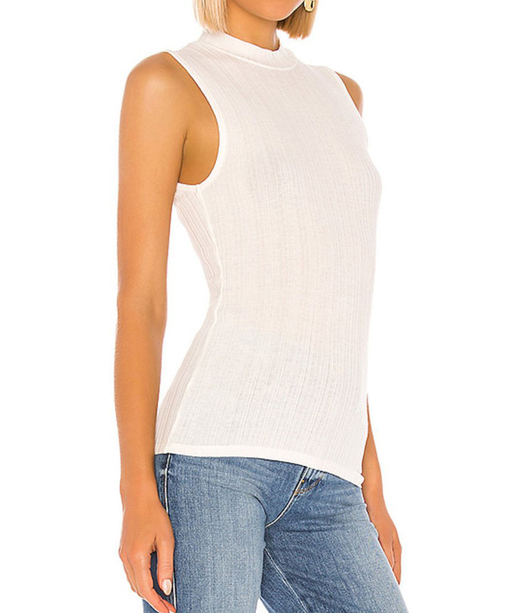 Shell Mock Neck Tank in Optic White