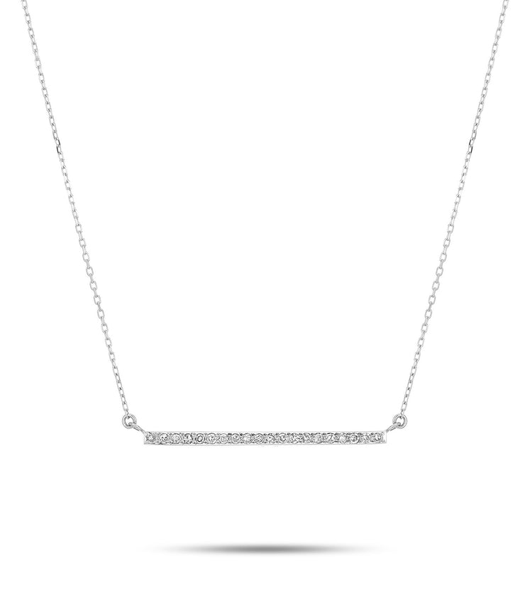 Large Pave Bar Neck in Strerling Silver