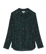 Nina Long Sleeve Blouse in Dark Glade and Black
