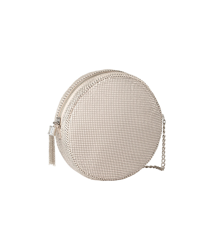 Round Tassel Crossbody in Almond