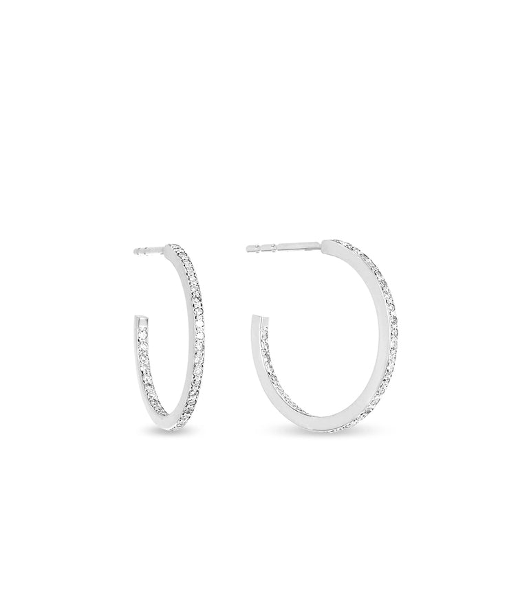 Small Pave Hoops in White Gold