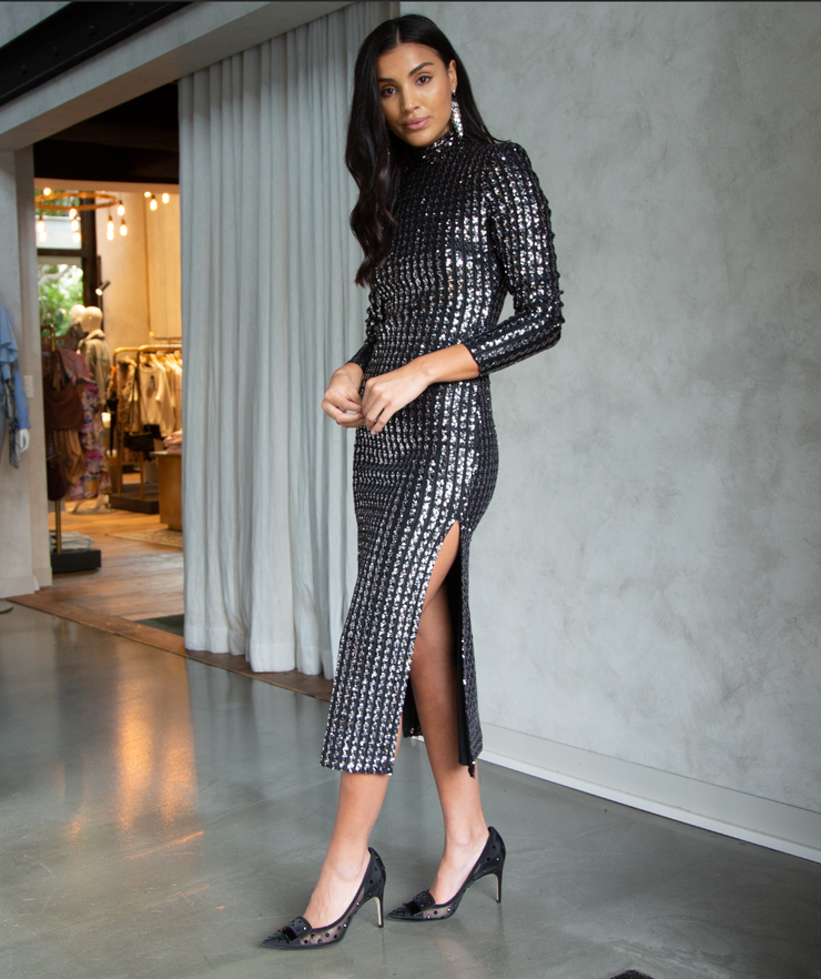 Silver Sequin Long Sleeve Dress