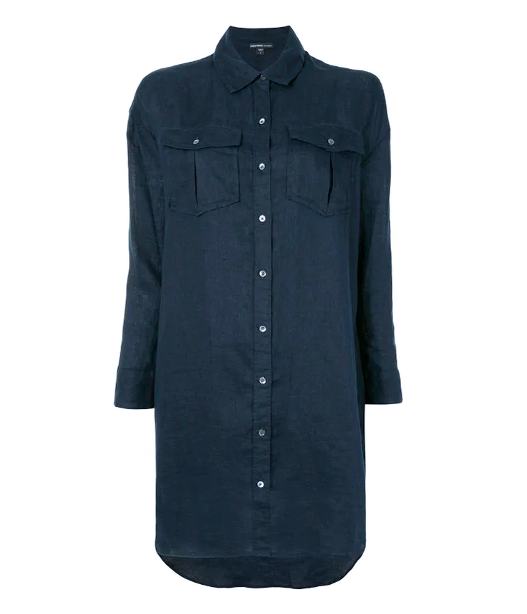 Military Linen Shirt Dress in French Navy