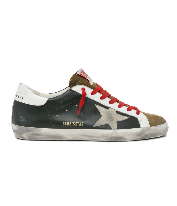 Superstar Leather Upper and Heel Suede Star in Army Green, Tobaacco, & Ice White