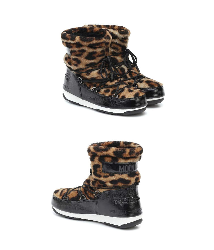 Black Leopard Moon Boot