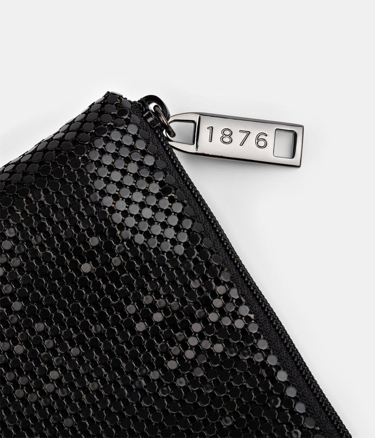 Mesh Metal Style Large Antique Black Clutch