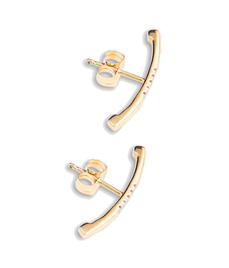 Center Pave Ear Hook Yellow Gold Earrings