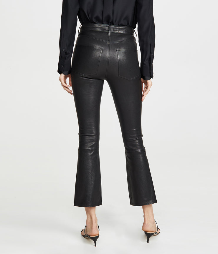 Leather Demy Cropped Flare in Black