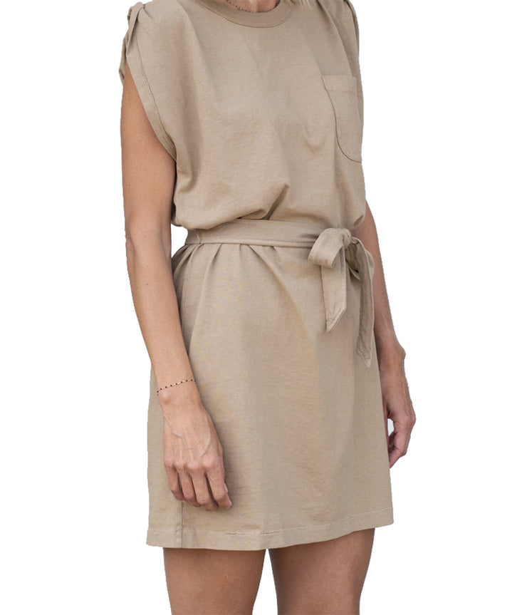 Jordana Rolled Sleeve Dress in Brown Sugar