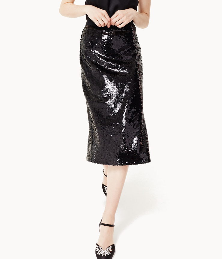 Connie Black Sequin Skirt