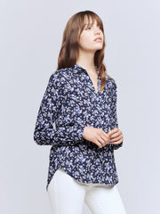 Holly Longsleeve Blouse in Navy and Ivory Butterfly